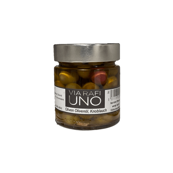 Oliven mit Knoblauch und Chili von Via Rafi Uno