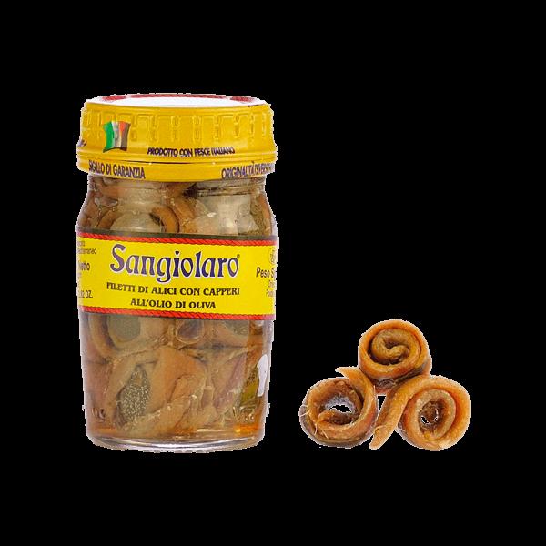 Sardellenfilets mit Kapern in Olivenöl von Sangiolaro